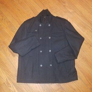 Black Rivet Wool Blend Coat